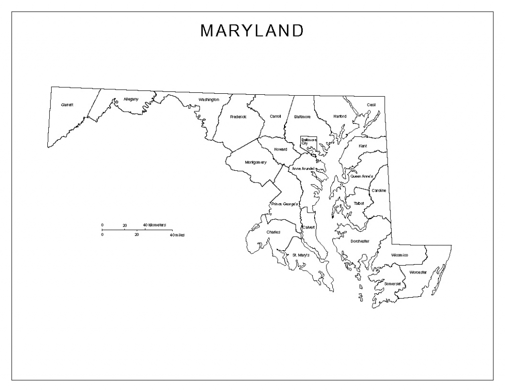 Maryland Labeled Map within Printable Map Of Maryland