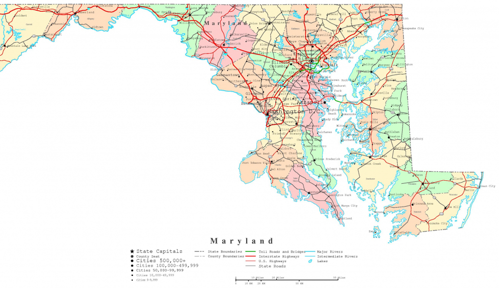 Maryland Printable Map for Printable Map Of Maryland