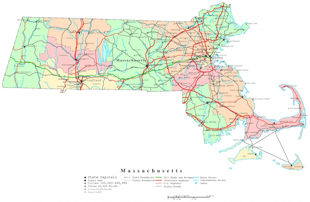 Massachusetts Printable Map with regard to Printable Map Of Massachusetts