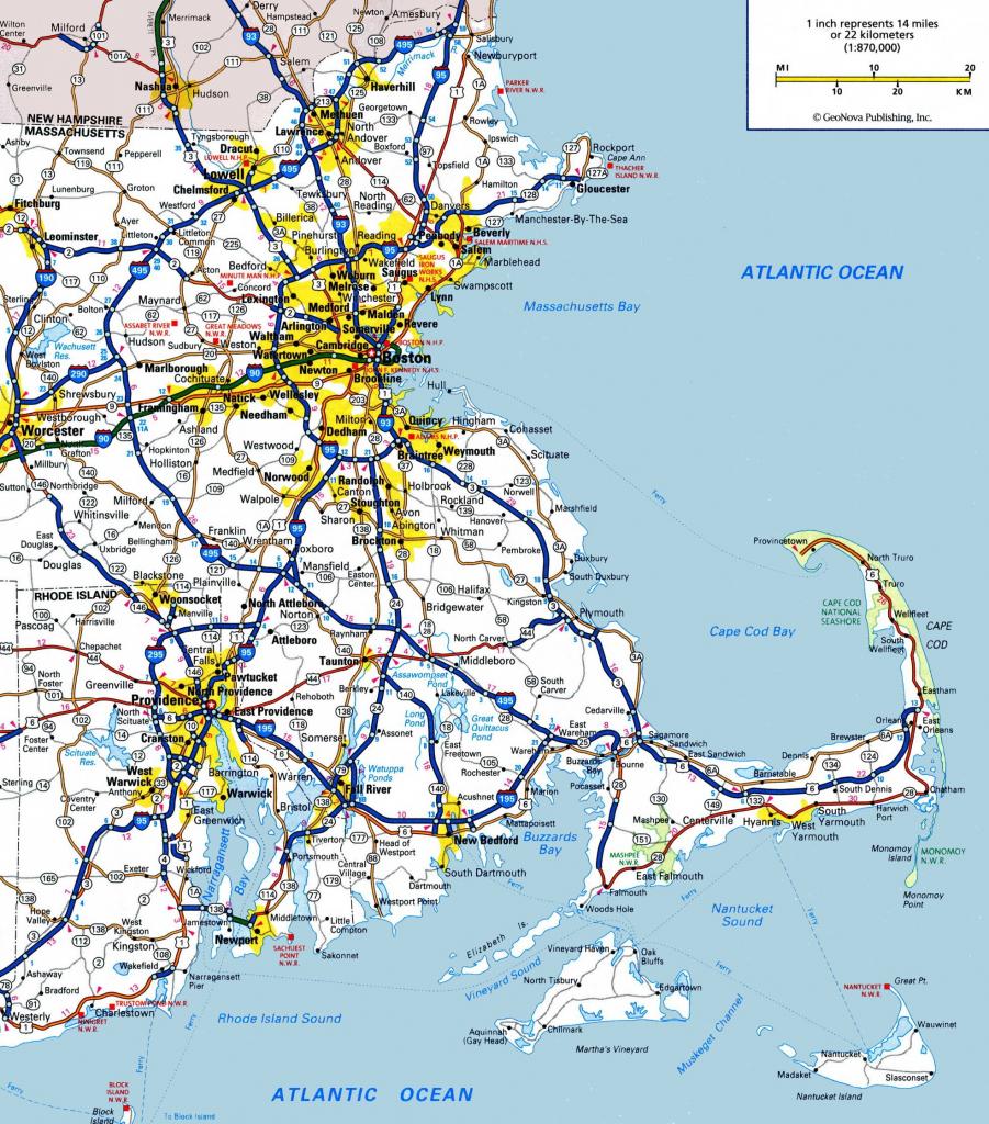 Massachusetts State Maps | Usa | Maps Of Massachusetts (Ma) for Printable Map Of Massachusetts