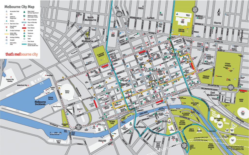 Melbourne Cbd Map throughout Printable Map Of Melbourne