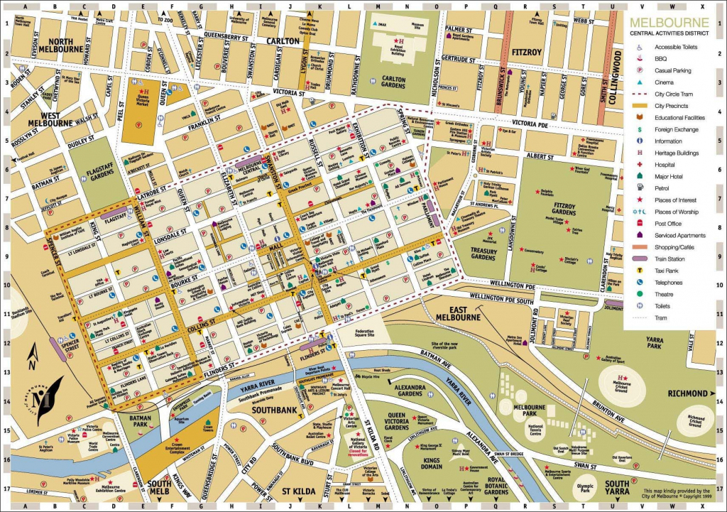 Melbourne Central District Tourist Map Australia City 3 - World Wide in Melbourne Tourist Map Printable