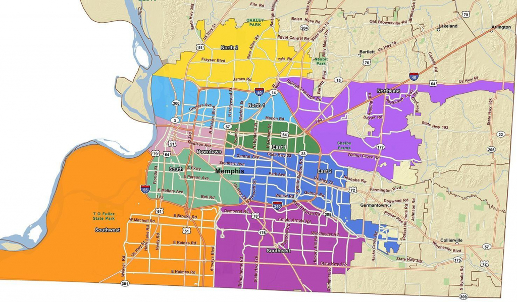 Memphis City Council District Map - City Of Memphis Map (Tennessee regarding Memphis City Map Printable