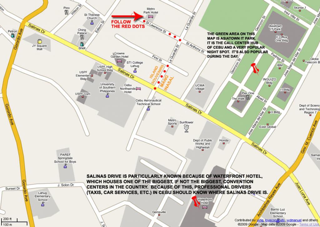 Metro Park Hotel Map (Print Version) inside Cebu City Map Printable