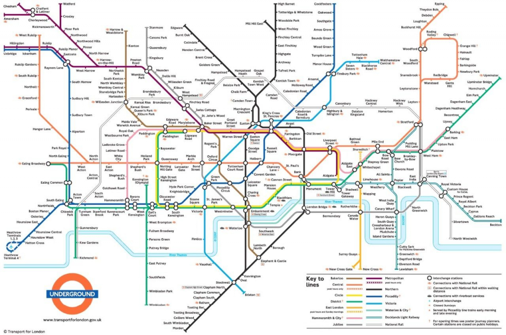 Metrokaart Londen | Londen In 2019 - London Tube Map, Underground inside London Underground Map Printable A4