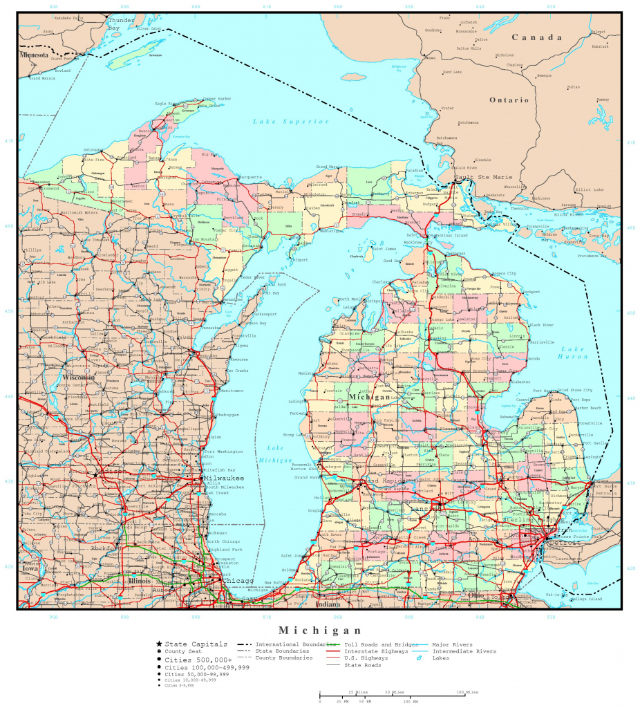 Michigan Printable Map throughout Michigan County Maps Printable