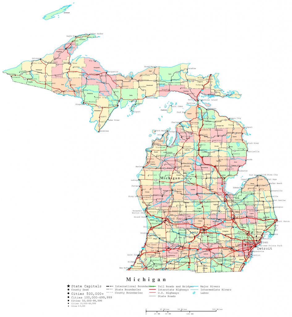 Michigan Printable Map within Printable Map Of Michigan