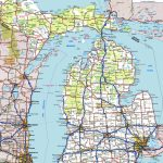 Michigan Road Map Inside Printable Map Of Michigan