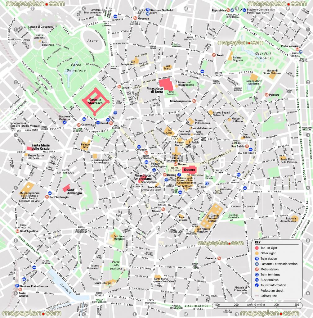 Milan Map - Central Milan Attractions Printable Map Showing Top 10 throughout Printable Map Of Milan