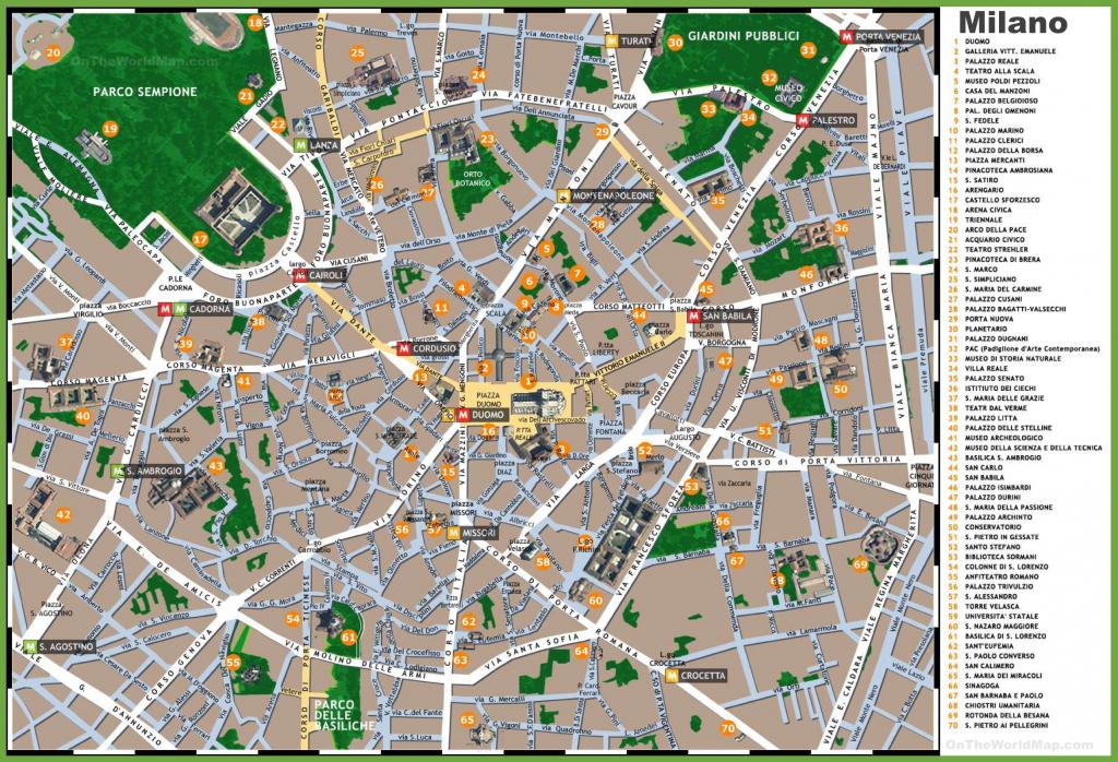 Milan Sightseeing Map inside Printable Map Of Milan