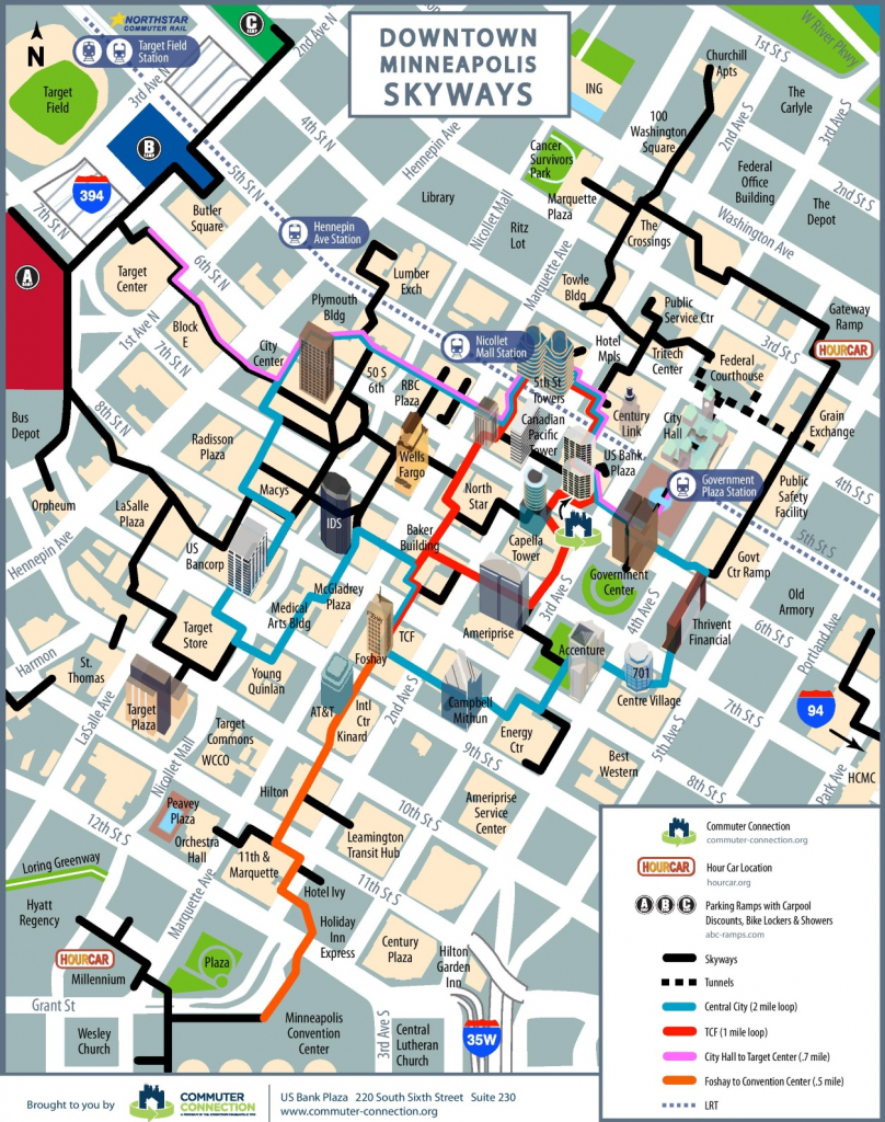 Minneapolis Skyway Map for Minneapolis Skyway Map Printable