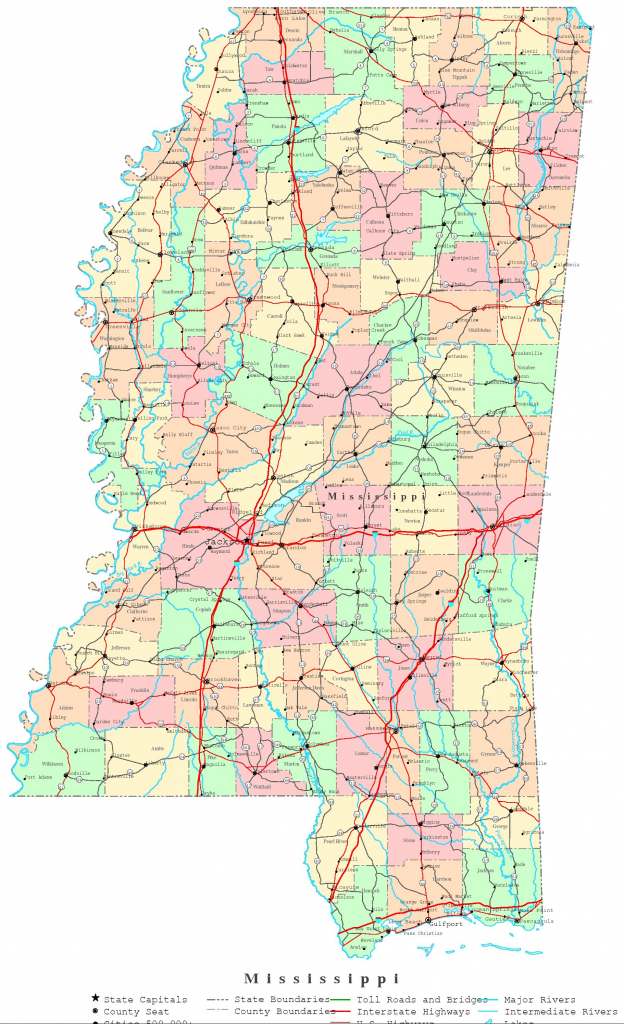 Mississippi Printable Map for Printable Map Of Ms