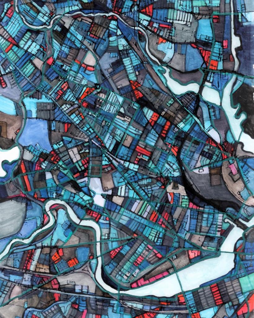 Modern Wall Art – Neighborhood Map Of Cambridge Ma. Abstract intended for Printable Map Of Cambridge Ma