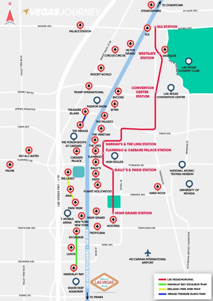 Monorail, Tram & Strip Map | Las Vegas Maps | Vegasjourney for Printable Las Vegas Strip Map 2016