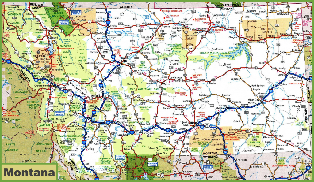 Montana Road Map with regard to Printable State Road Maps