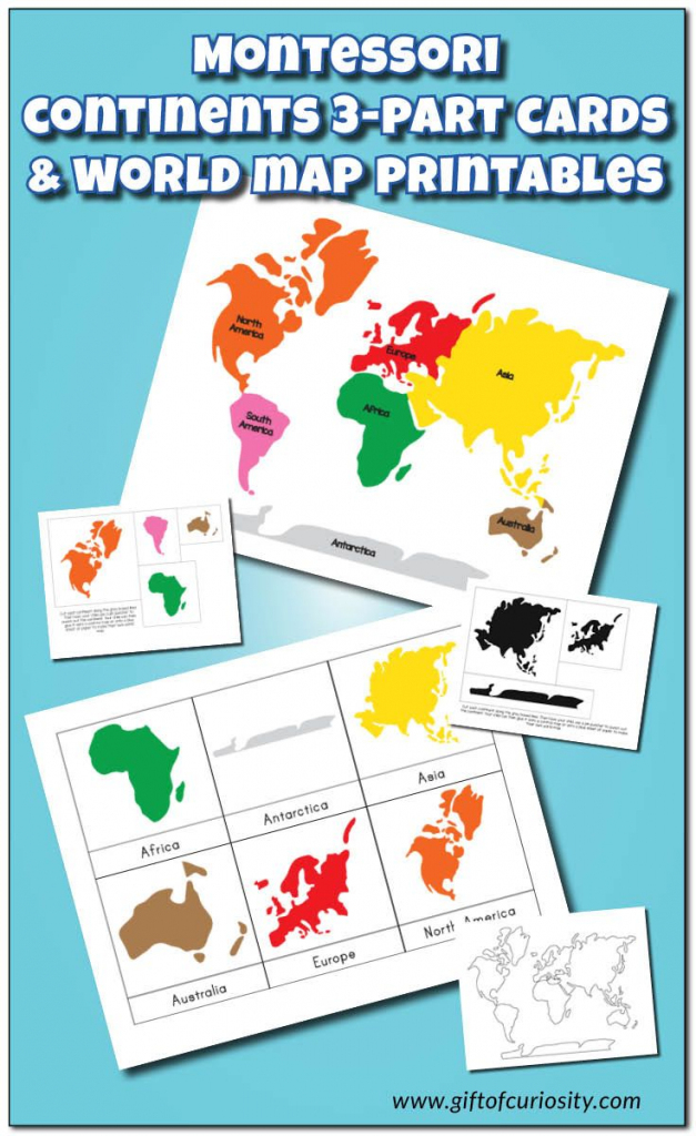 Montessori Continents 3-Part Cards And World Map Printables | After throughout Montessori World Map Free Printable