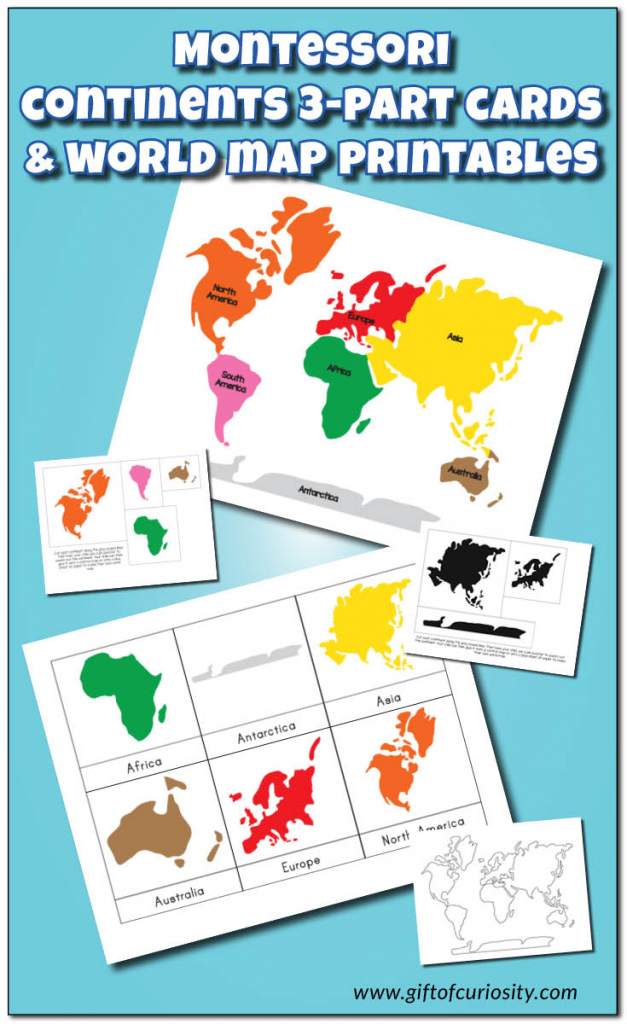 Montessori Continents 3-Part Cards And World Map Printables - Gift intended for Montessori World Map Printable
