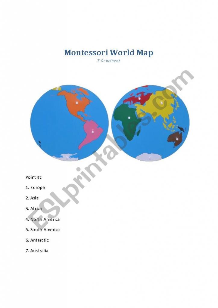Montessori World Map - Worksheet - Esl Worksheetmillie9 with Montessori World Map Printable