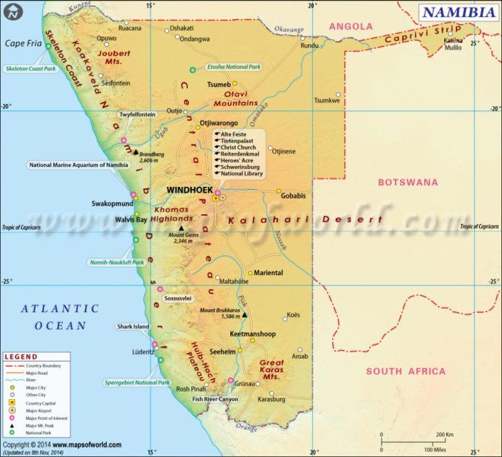 Printable Road Map Of Namibia