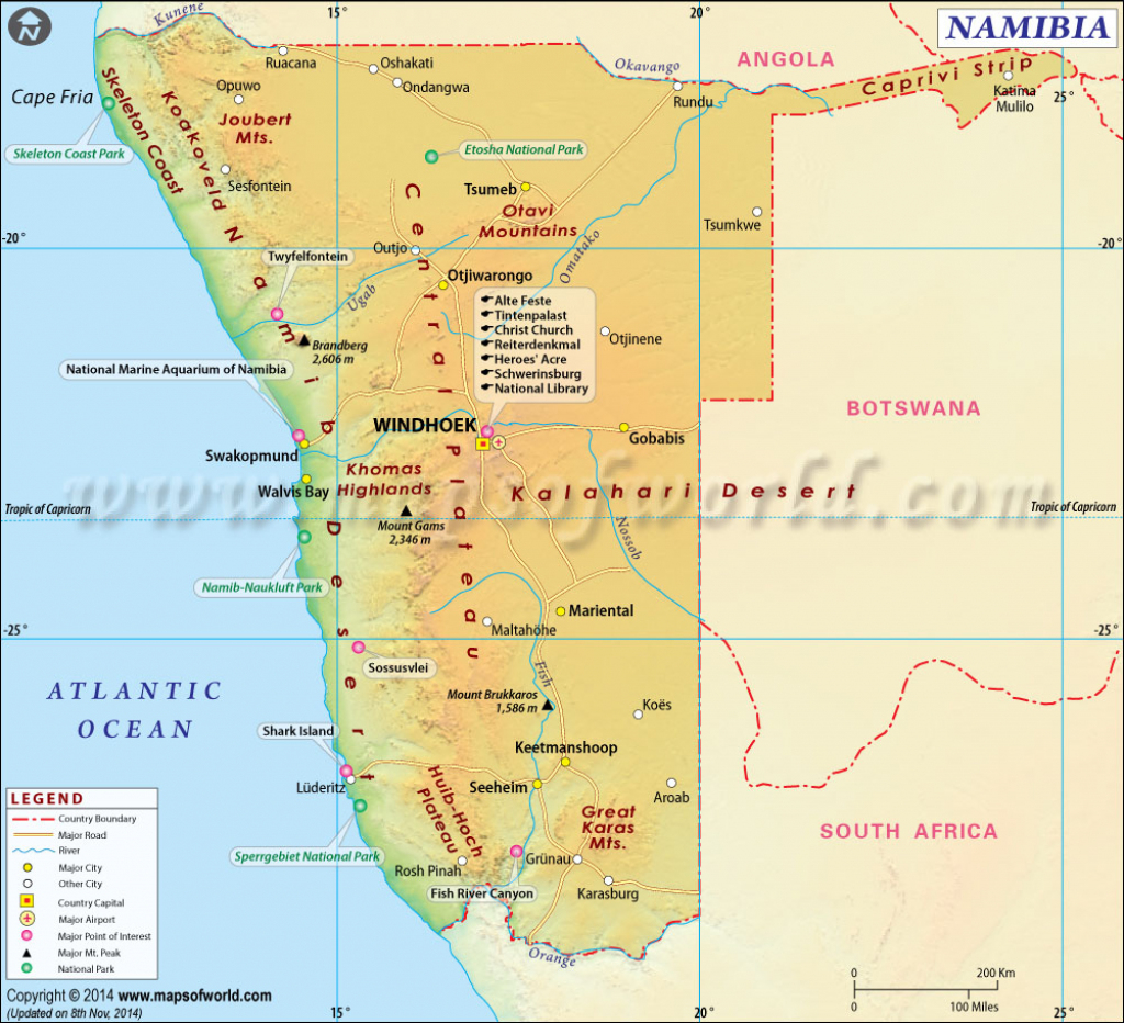 Namibia Map, Map Of Namibia intended for Printable Road Map Of Namibia