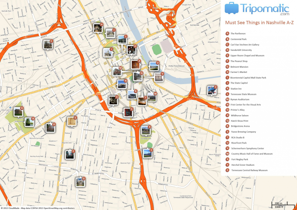 Nashville Printable Tourist Map | Free Tourist Maps ✈ | Nashville inside Printable Map Of Nashville