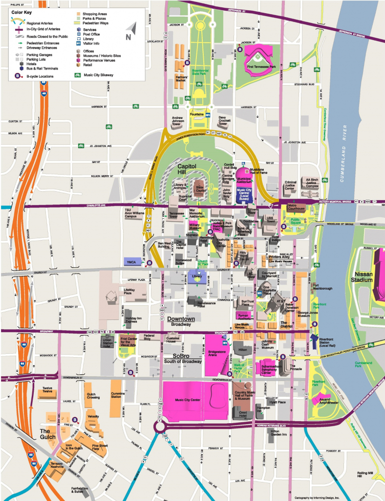 Nashville Tourist Attractions Map throughout Printable Map Of Nashville