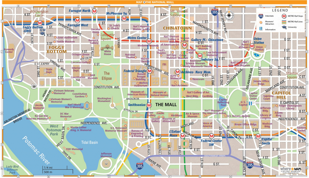 National Mall Map In Washington, D.c. | Wheretraveler with regard to Washington Dc Map Of Attractions Printable Map