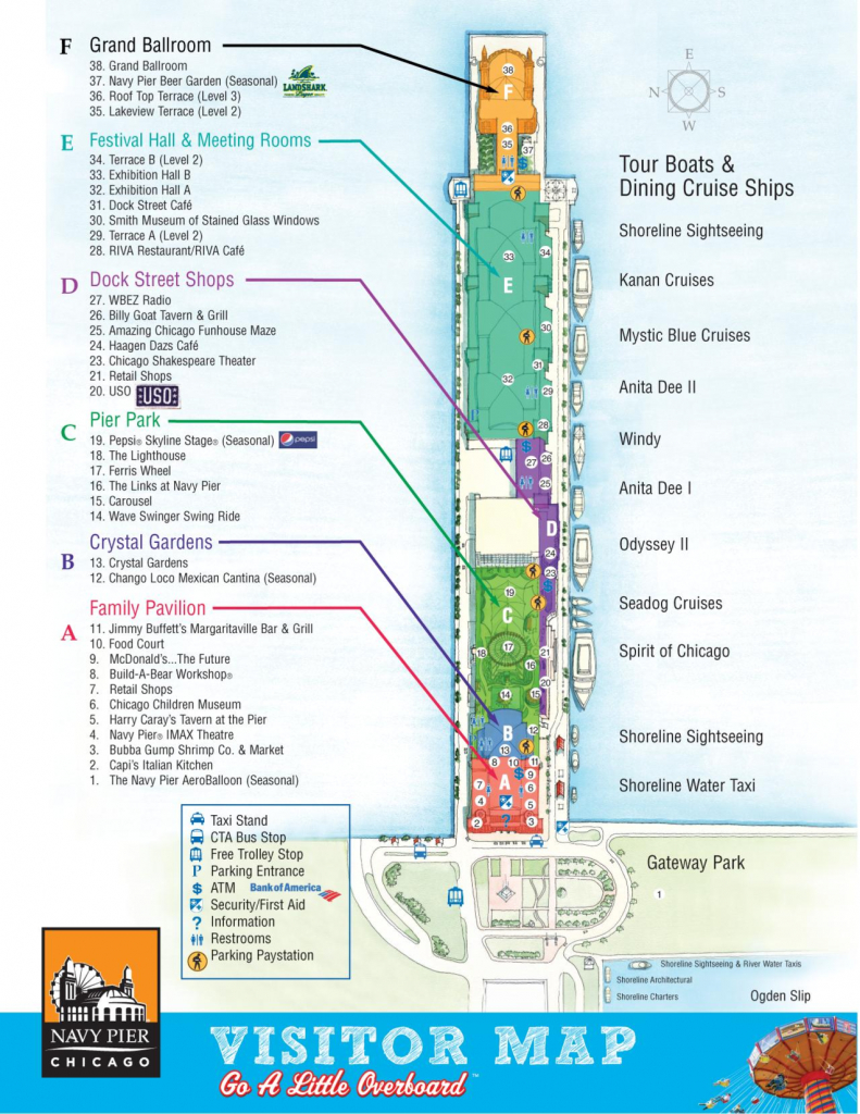 Navy Pier Visitor Map   Travel - Chicago In 2019   Chicago Map, Map in Printable Walking Map Of Downtown Chicago