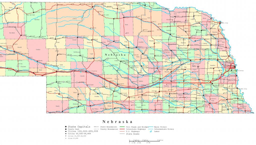 Nebraska Printable Map with regard to Printable Map Of Nebraska