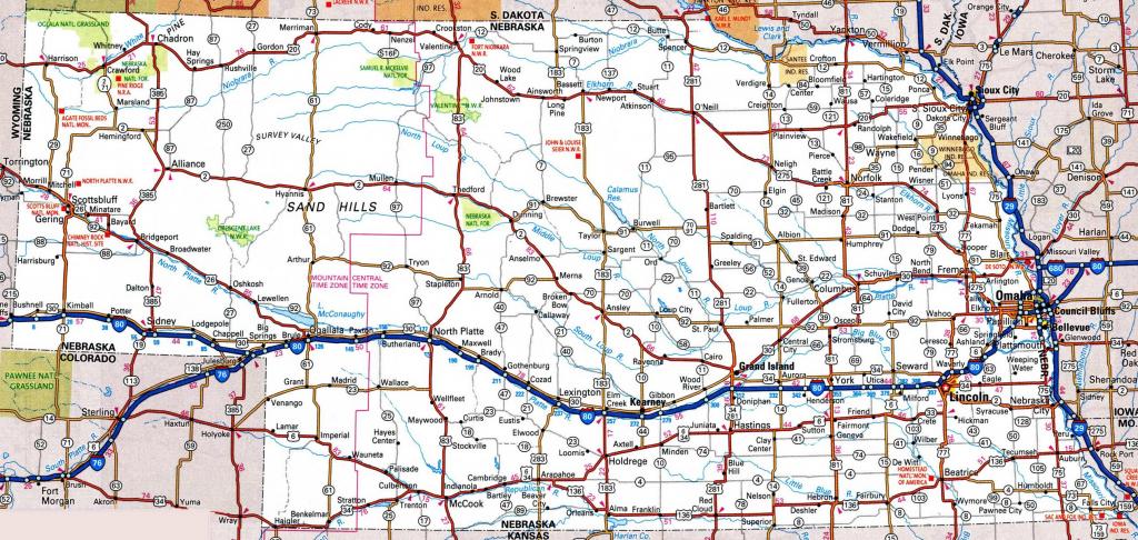 Nebraska Road Map for Printable Road Map Of Nebraska