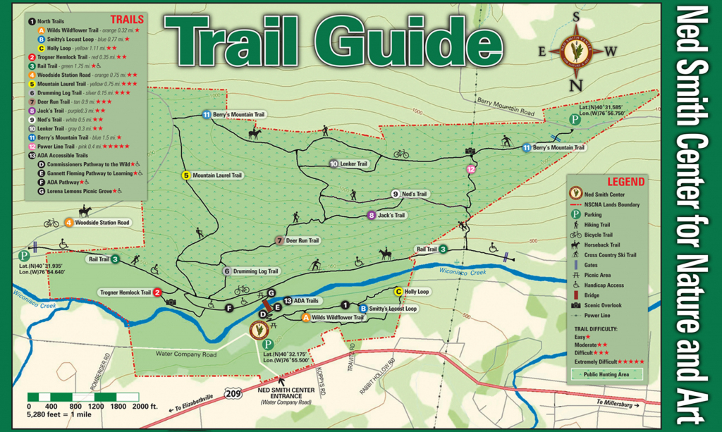Ned Smith Center Lands And Trails   Ned Smith Center For Nature And Art inside Printable Trail Maps