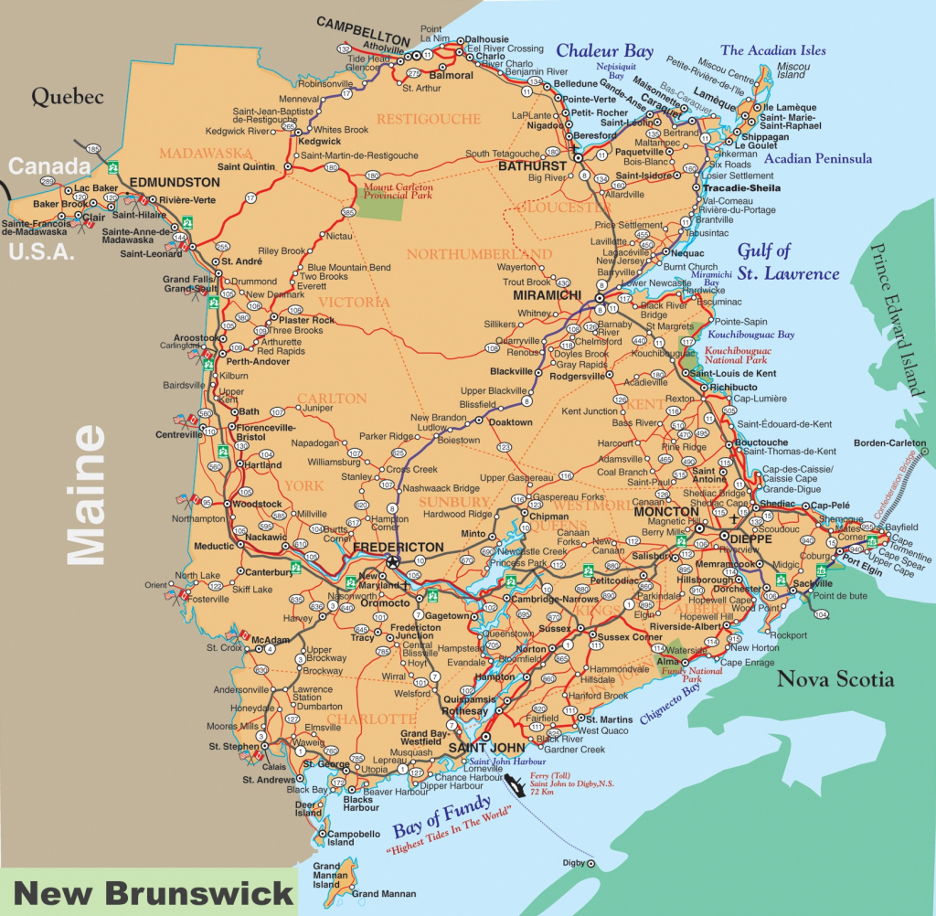 New Brunswick Road Map with regard to Printable Map Of New Brunswick