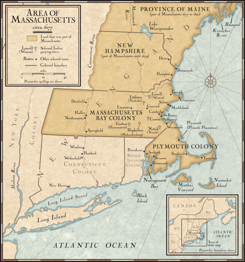 New England Colonies In 1677 | National Geographic Society inside Printable Map Of New England
