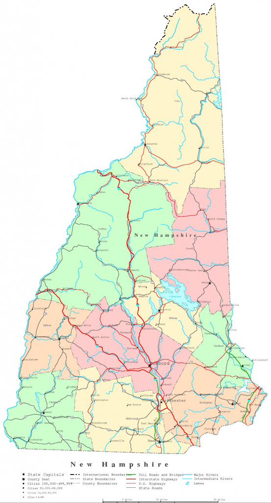 New Hampshire Printable Map pertaining to Printable Road Map Of New Hampshire