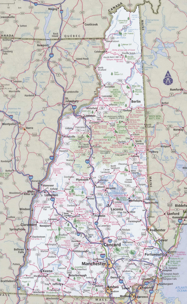 New Hampshire Road Map with regard to Printable Map Of New Hampshire