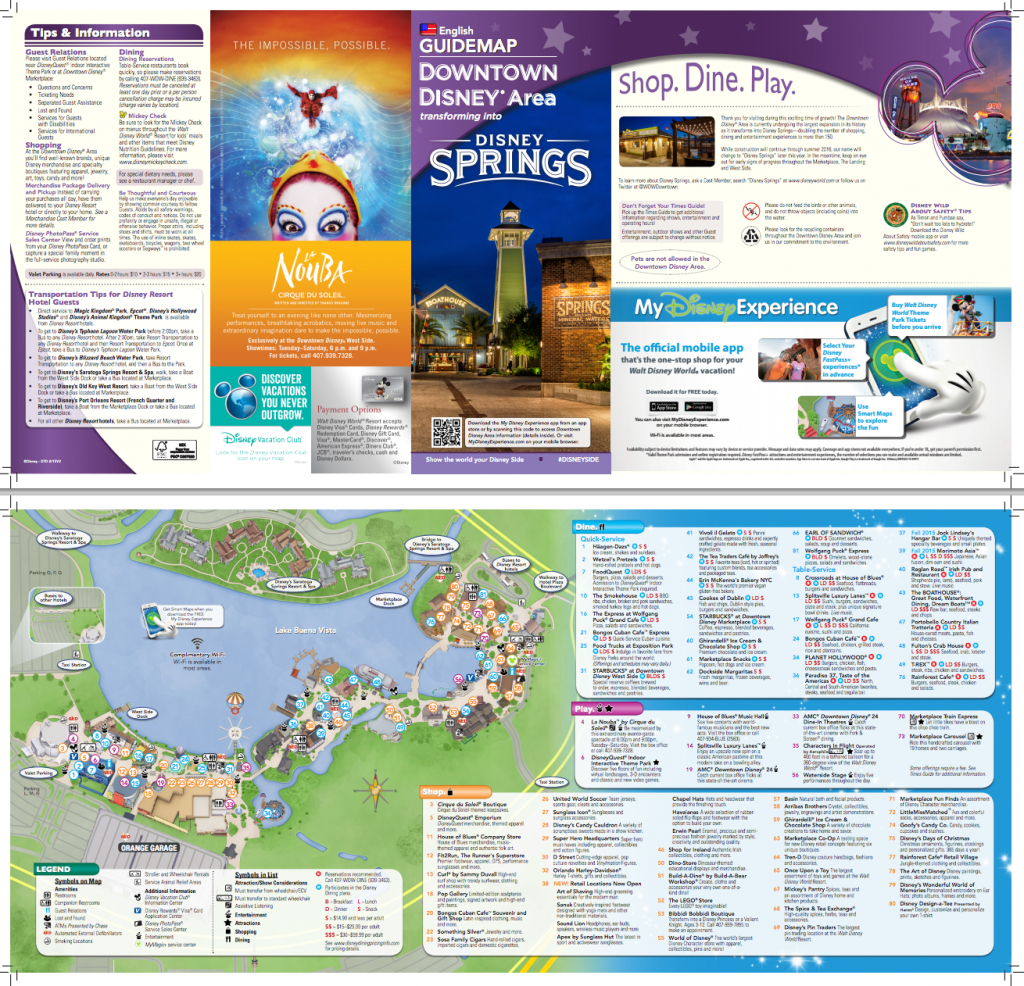 New Map For Downtown Disney/disney Springs (Pdf) | Disney Springs pertaining to Disney Springs Map Printable