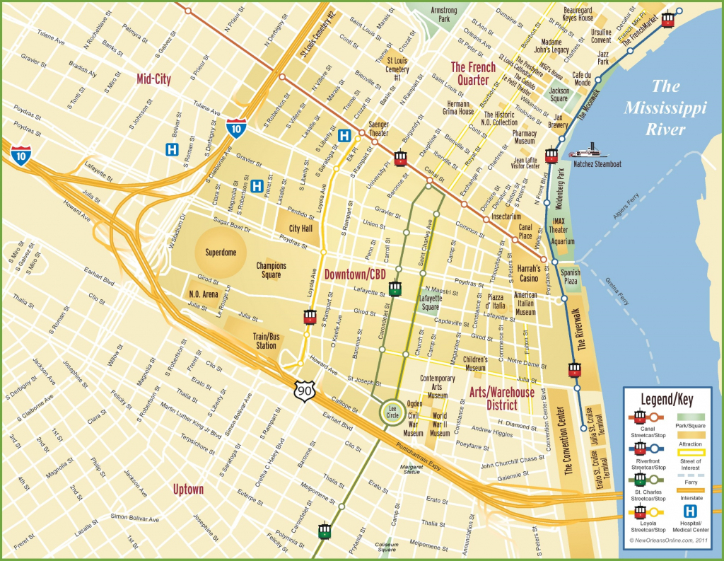 New Orleans Cbd And Downtown Map with Printable Map Of New Orleans
