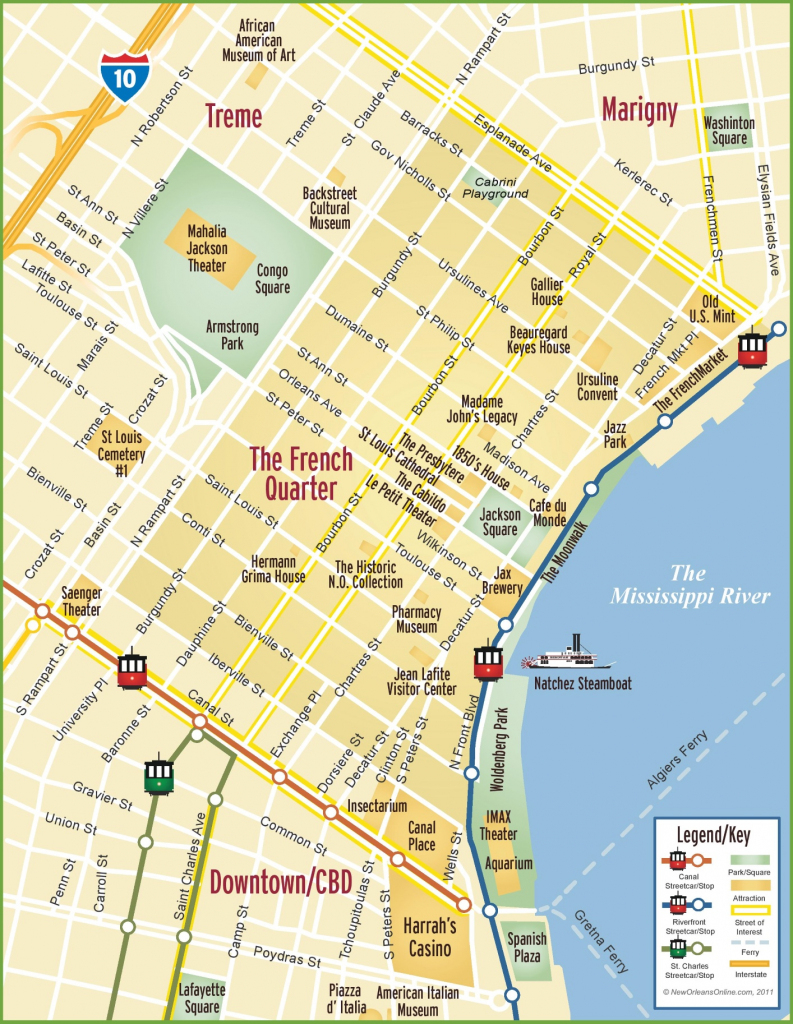 New Orleans French Quarter Map with Printable French Quarter Map