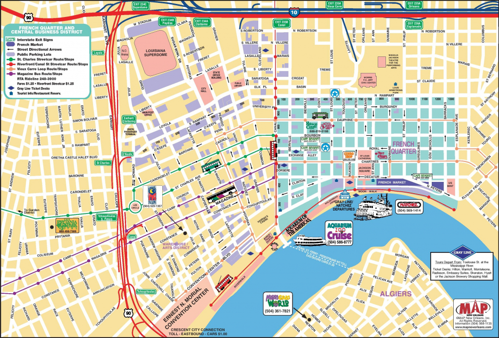 New Orleans French Quarter Tourist Map - Printable Map Of New throughout Printable Map Of New Orleans