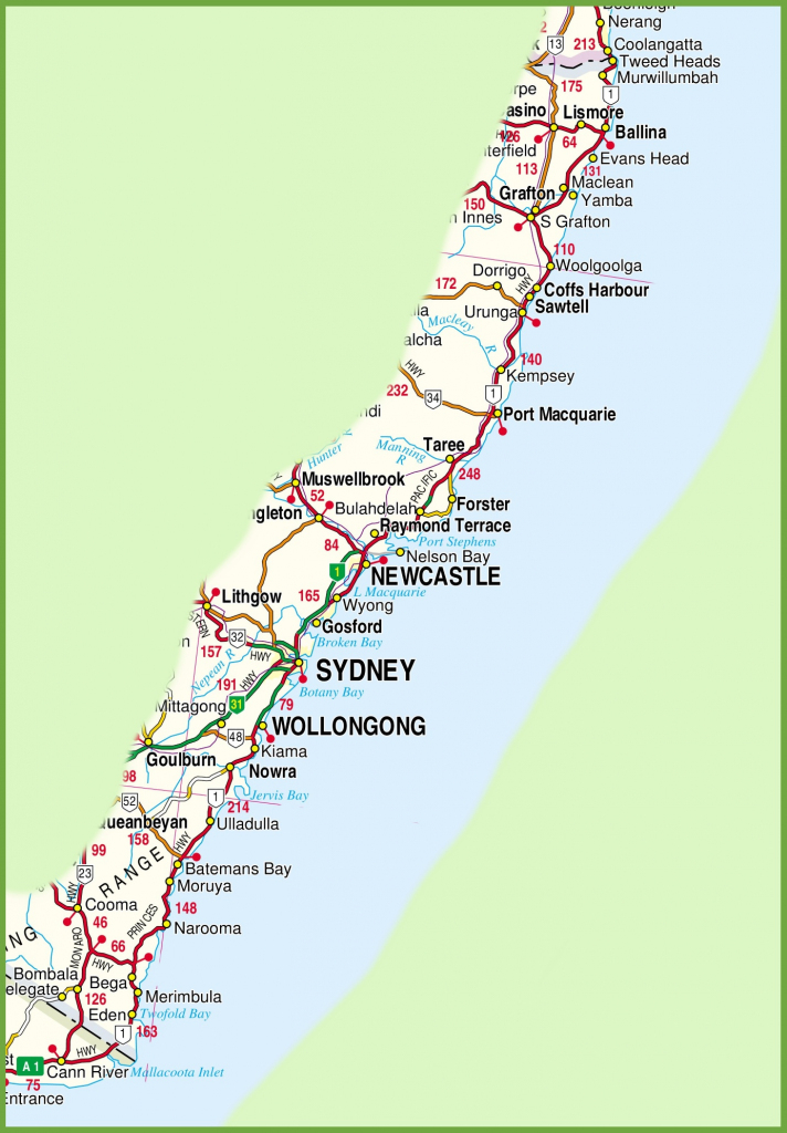 New South Wales Coast Map with Printable Map Of Nsw