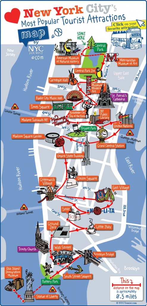 New York City Most Popular Attractions Map within Printable Walking Map Of Midtown Manhattan