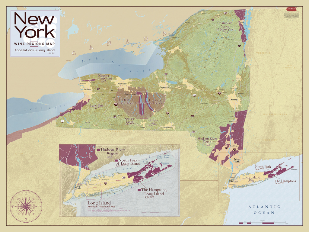 New York Wine Regions Map – Appellations & Long Island Inset - Vinmaps® pertaining to Printable Map Of Long Island