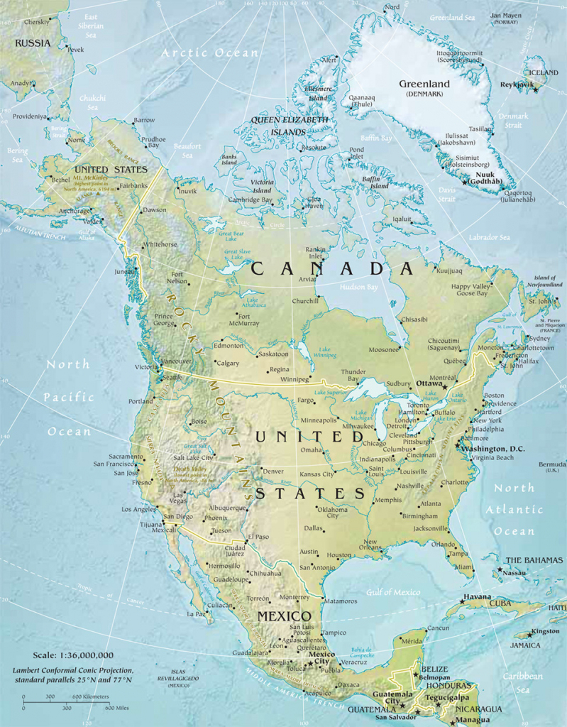 North America Physical Map with Printable Physical Map Of North America