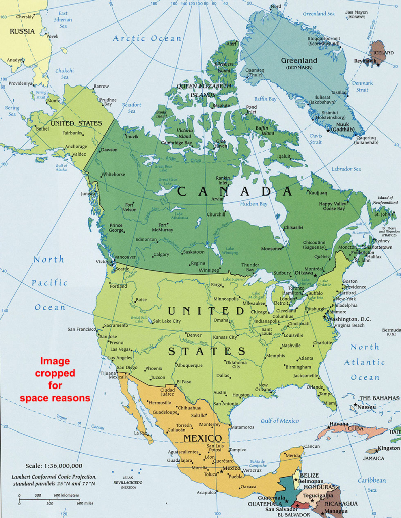 North America Political Map, Political Map Of North America with North America Political Map Printable