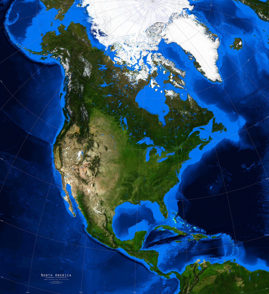 North America Satellite Image Giclee Print Topography & Bathymetry inside Topographic World Map Printable
