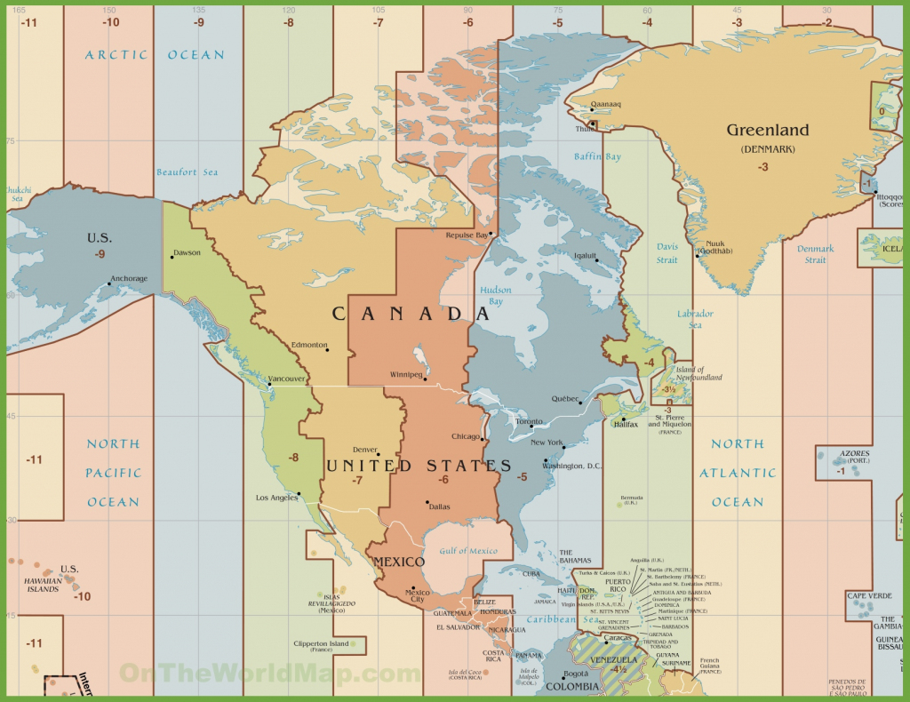 North America Time Zone Map for Printable North America Time Zone Map