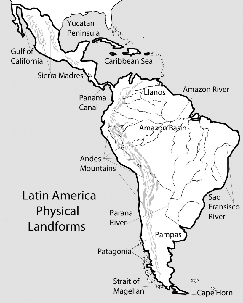 North And South America Physical Map Printable Blank The United with regard to South America Physical Map Printable