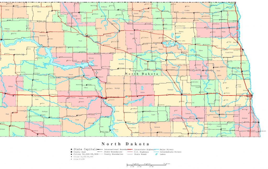 North Dakota Printable Map inside Printable Map Of North Dakota