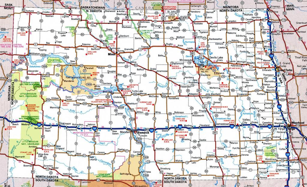 North Dakota Road Map in Printable Map Of North Dakota