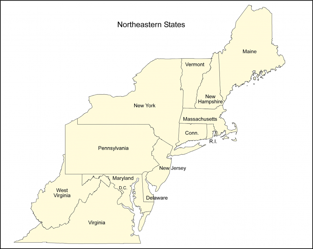 Northeast Us Blank Map New Printable Map Northeast Region Us regarding Printable Map Of The Northeast